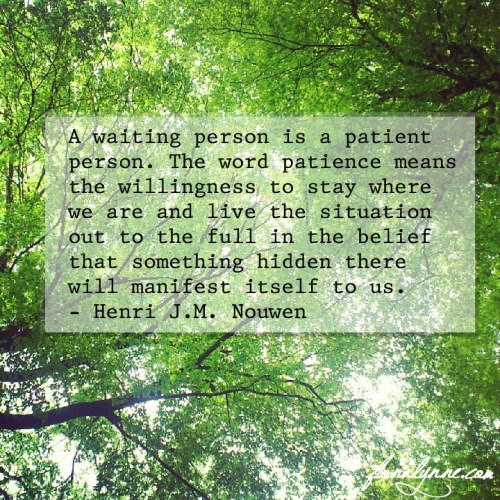 Henri Nouwen quote on patience - fionalynne.com