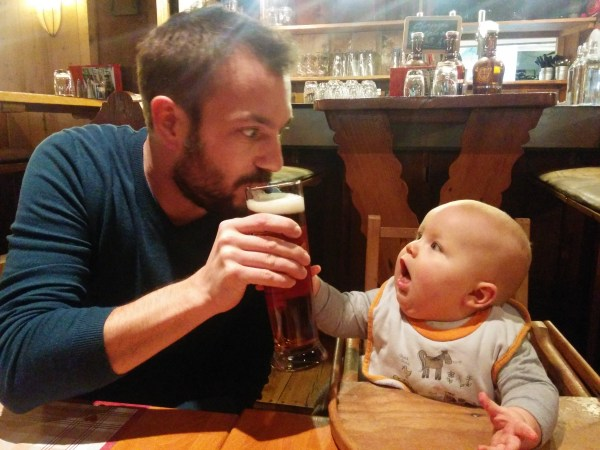 Dad and Baby enjoying a beer ;)