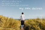 """""""Maybe my worry that I'll miss what God is calling me to, has caused me to miss one of his clearest signs of direction: my own desires."""""""