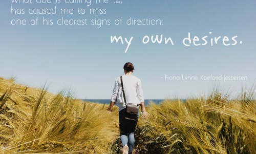 """Maybe my worry that I'll miss what God is calling me to, has caused me to miss one of his clearest signs of direction: my own desires."""