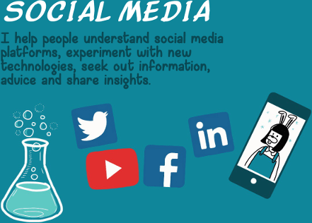 Social Media - I help people understand social media platforms, experiment with the new technologies, seek out information, advice and share insights.