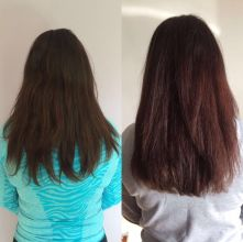 Female hair cut with layers