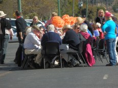 75 people having lunch together in the street - many locally produced ingredients were used to make the fare!!
