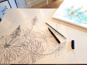 Drawing Aloe arborescens on woodblock. Fiona Parrott printmaker. Fiona Parrot prints.