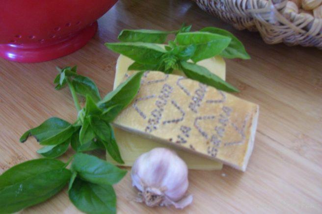 Basil, garlic, grana pradano