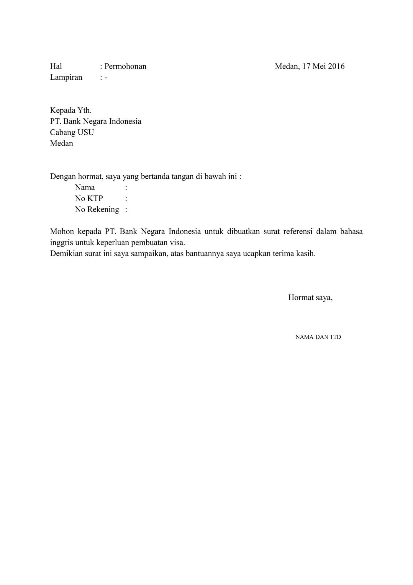 Surat Permohonan Referensi Bank Mandiri : surat, permohonan, referensi, mandiri, Surat, Referensi, Mandiri, Untuk, Korea, Kumpulan, Contoh