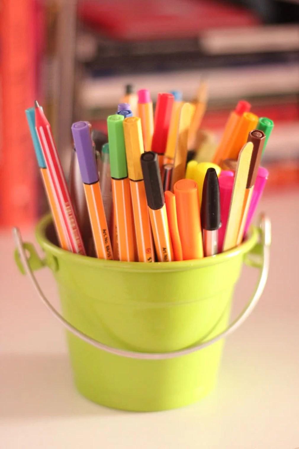 Balde de canetas para o meu Ensaio fotográfico