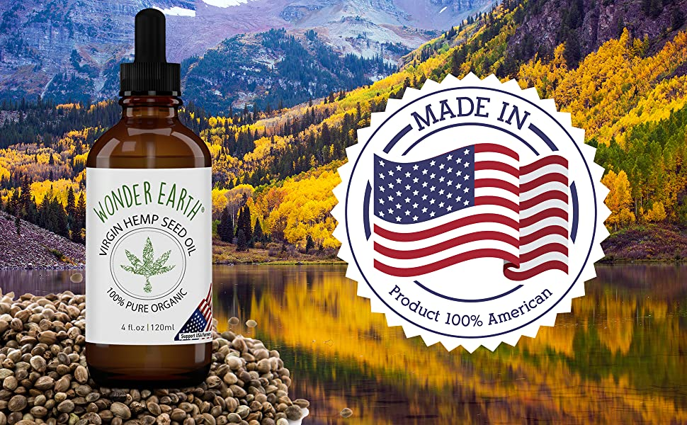 Wonder Earth Virgin Hemp Seed Oil USDA Organic Made in USA Origin
