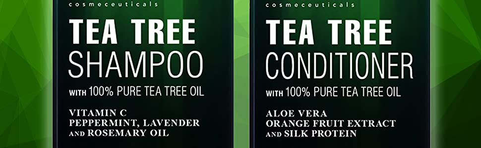 Botanic hearth tea tree essential oil shampoo conditioner set organic natural dandruff dry scalp top