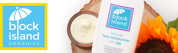 Block Island Organics logo, Natural Face Moisturizer SPF 30, shea butter, and marigold