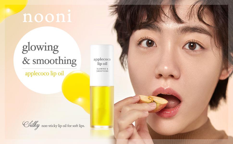 nooni, applecoco lip oil, korean lip, tinted lip oil, dry lips