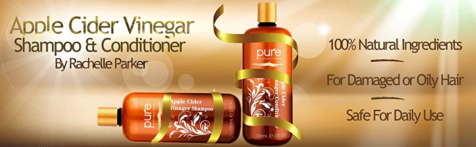 100% natural ingredients, safe for daily use, for damaged or oily hair, apple cider vinegar shampoo