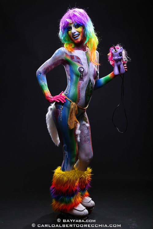 Rainbow Unicorn Body Paint At The FABA Convention Fire Pixie