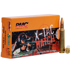PMC X-Tac Match raises the bar for competitive load shots with its precision, performance, and reliability. Each box contains 20 rounds of 77 grain .223 Remington with open tip match bullets.