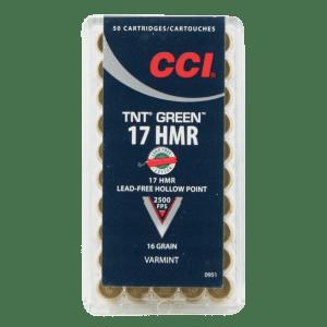 CCI Ammunition Varmint TNT Green Brass .17 HMR 16-Grain 50-Rounds HP