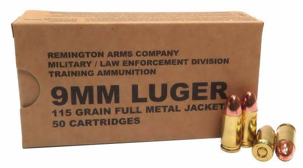9mm 9x19 Ammo 115gr FMJ Remington Military LE Training (B9MM3) 500 Round Case