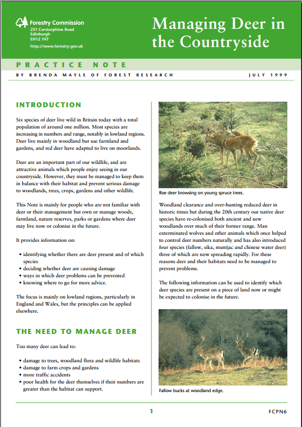 Forestry Commission guide on Managing Deer in the Countryside
