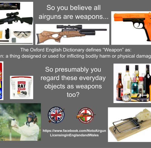 A Firearms UK meme on why its wrong to call airguns weapons