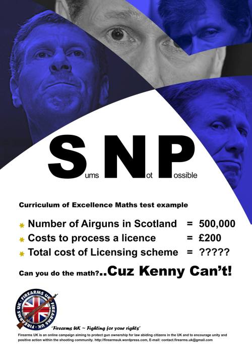 A Firearms UK meme on the potential cost of an airgun licensing scheme for Scotland