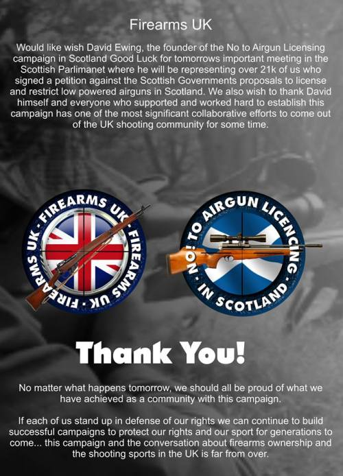 A message of thanks to everyone who supported the No to Airgun Licensing campaign