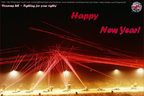 Night time firing range showing tracer fire with a Happy New Year message from Firearms UK