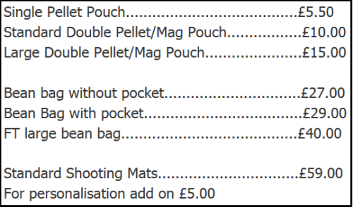 Custom Sporting Mats and HIdes 27th December Price List
