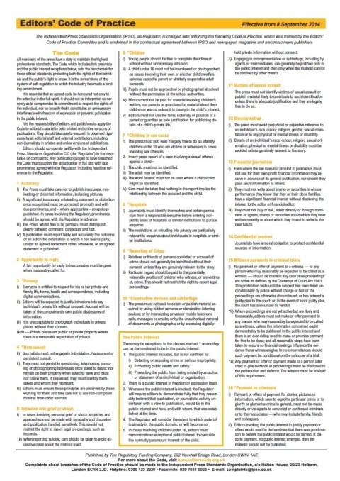 Independent Press Standards Organisation – Editors' Code of Practice