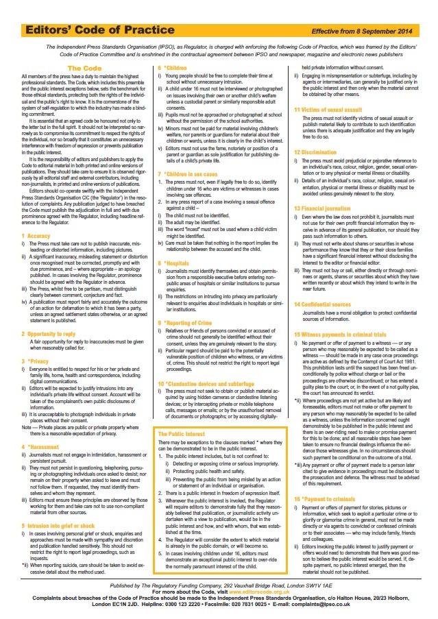 Independent Press Standards Organisation - Editors' Code of Practice