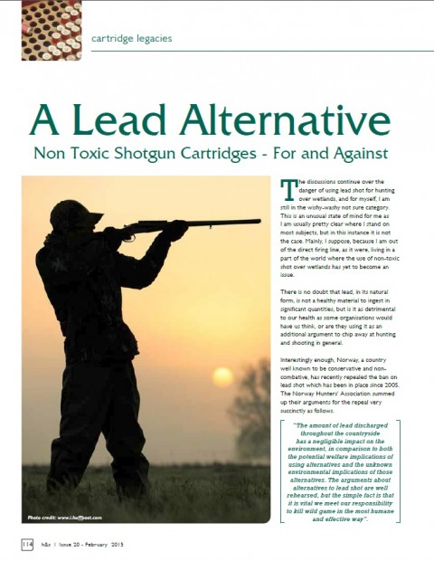 A Lead Alternative, Non Toxic Shotgun Cartridges – For and Against