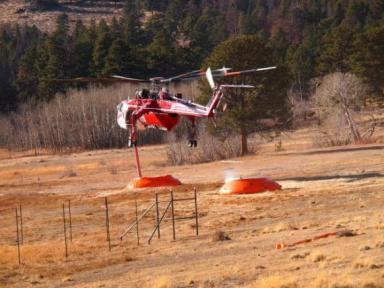Helitanker 715 at the Fern Lake Fire
