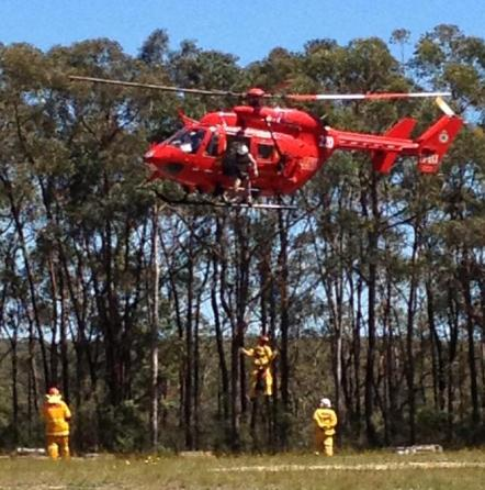 Winch training in the Blue Mountains for RFS firefighters