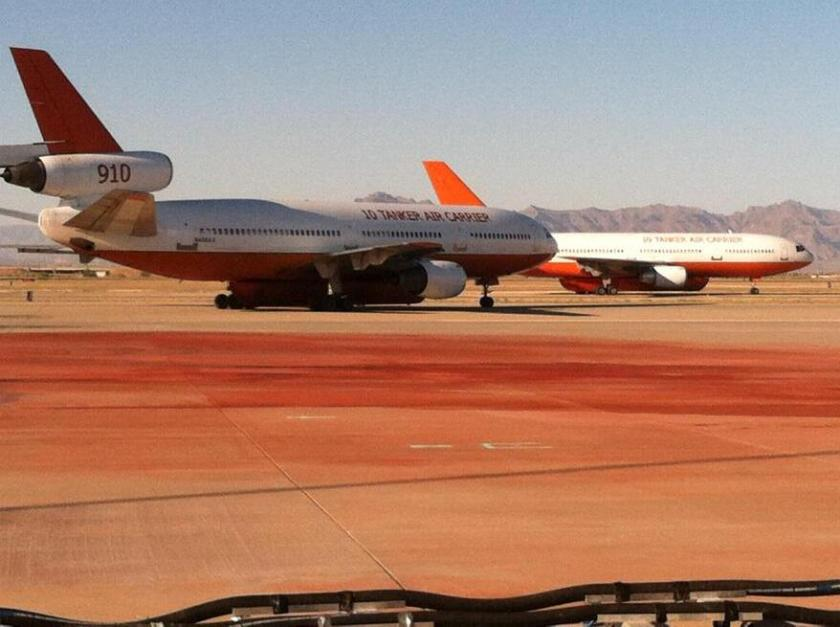 Two DC-10 air tankers at Mesa Gateway