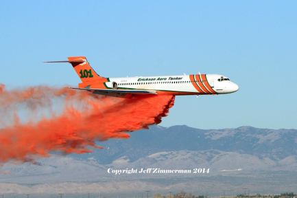 Tanker 101 dropping retardant at the grid test