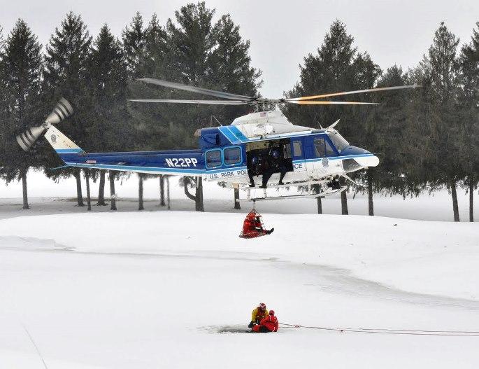 Park Police ice rescue training. NPS photo.