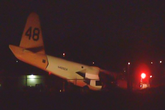 Tanker 48 lands collapsed nose gear Fresno
