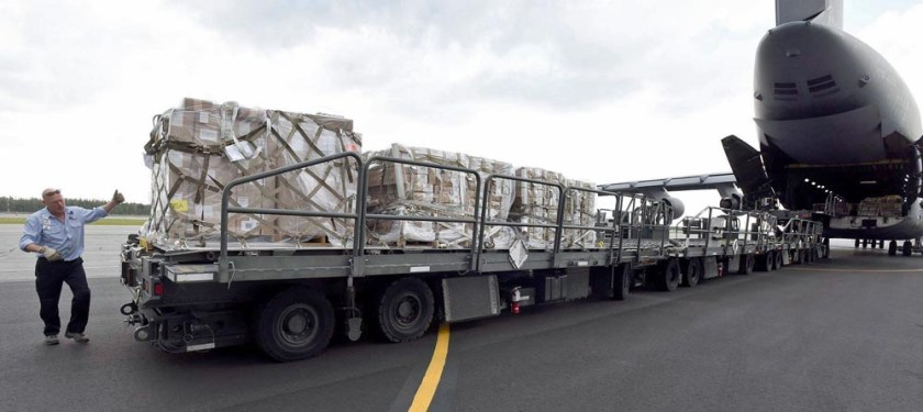 Fire Supplies transported on Air Force plane