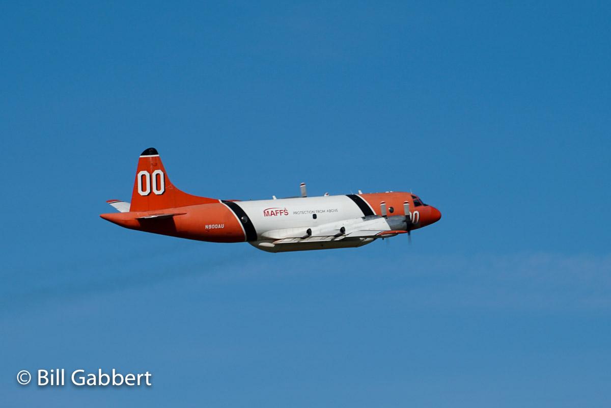 P3 air tanker makes a pass over McClellan Air Field