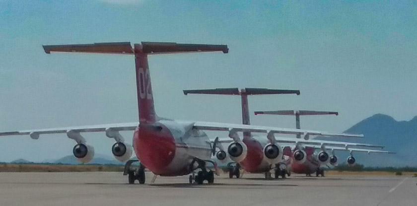 Air tanker lineup at Libby Tanker Base