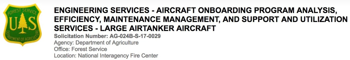 Forest Service contracts for aircraft onboarding analysis