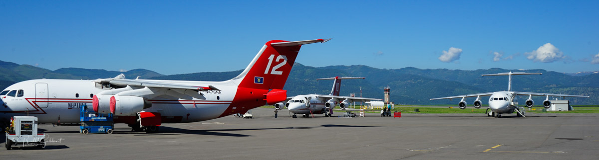 Four of Neptune's BAe-146 air tankers are deployed