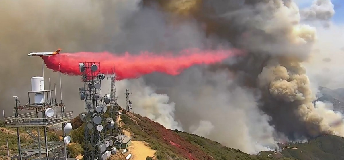 Air tankers protecting Santiago Peak during the Holy Fire