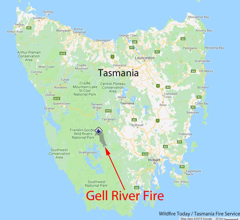 Map Gell River Fire in Tasmania, Australia