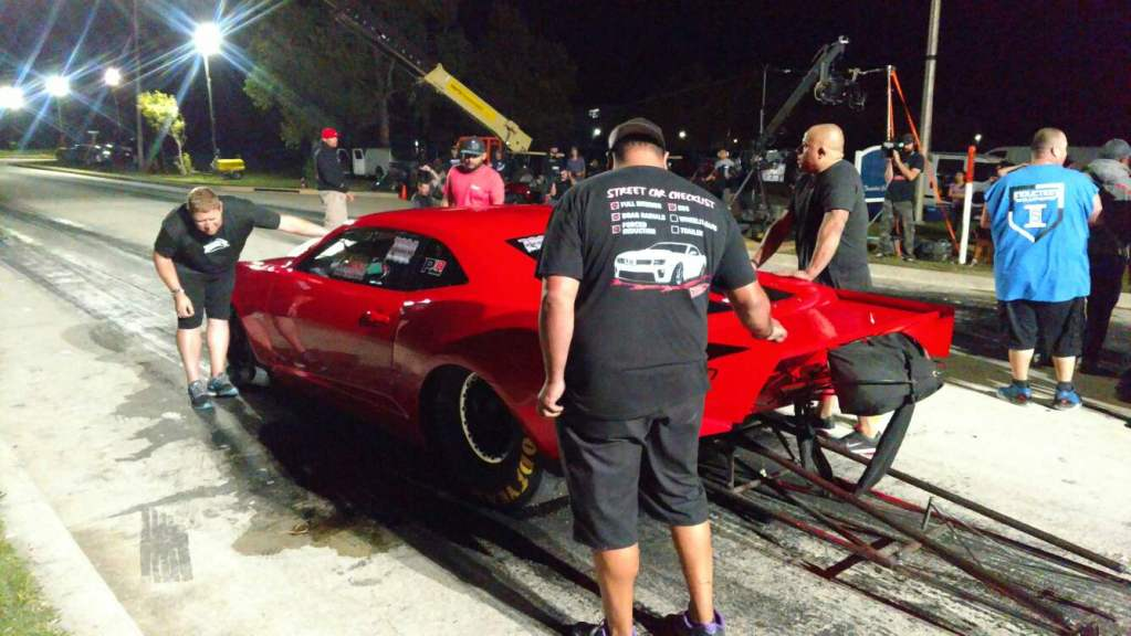 Fireball Camaro crew preparing the streetcar for a race in Memphis on Street Outlaws
