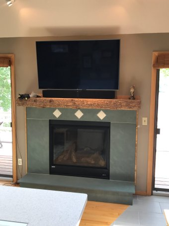 "Lake house Fireplace with 4"" Pine Tree tile"