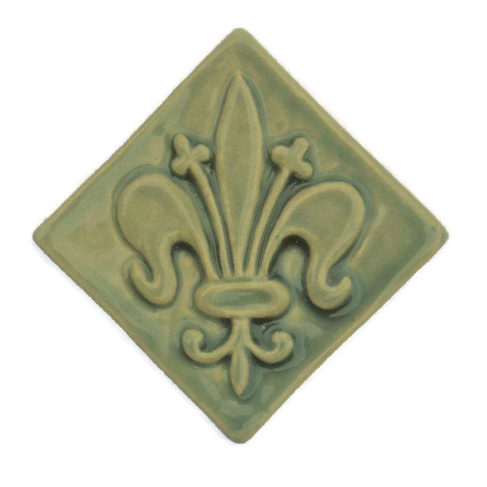 Fleur De Lis Inch Handcrafted Ceramic Tile Fire Creek Clay - 2 inch by 2 inch ceramic tiles