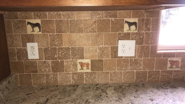 Kitchen using Fire Creek's 4 Inch Horse and Beef Cow in Virginia paired with a beautiful tumbled stone.