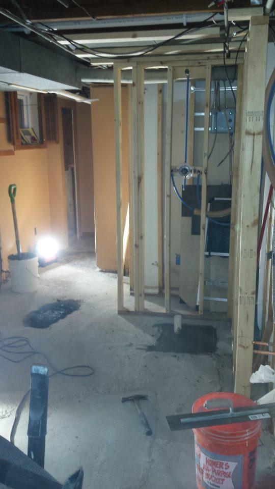 Bathroom framing in progress