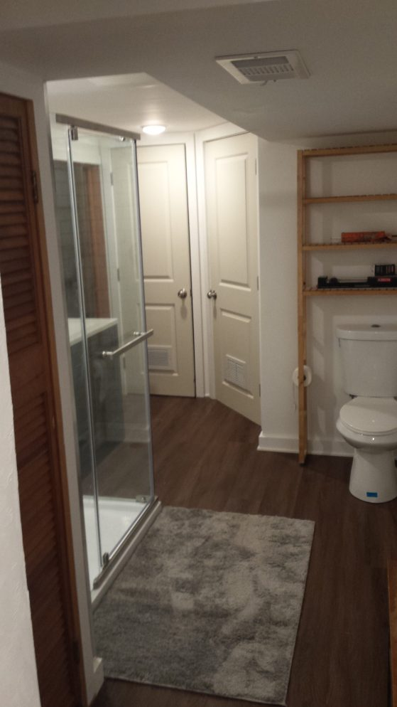 Semi-finished bathroom remodel facing north