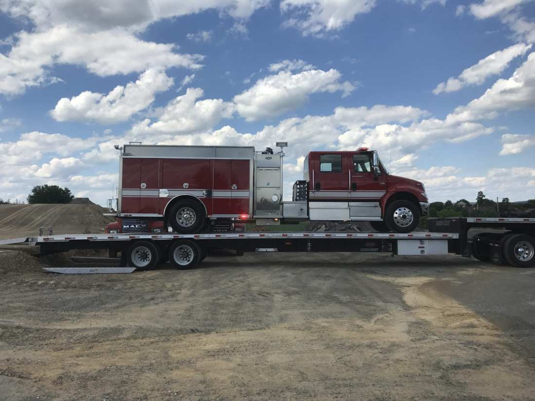 delivering used fire truck