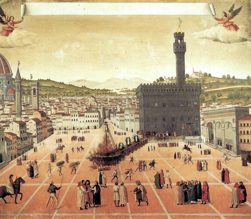 シニョーリア広場での火刑<br> 作者不詳, 1498<br> サン・マルコ美術館, フィレンツェ
